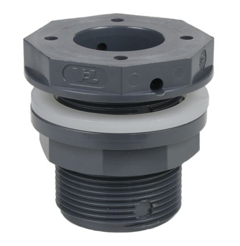 PVC fitting: tank adaptor with flat outlet